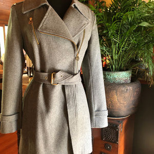 Michael Kors Asymmetrical Trench Coat Wool Size 6